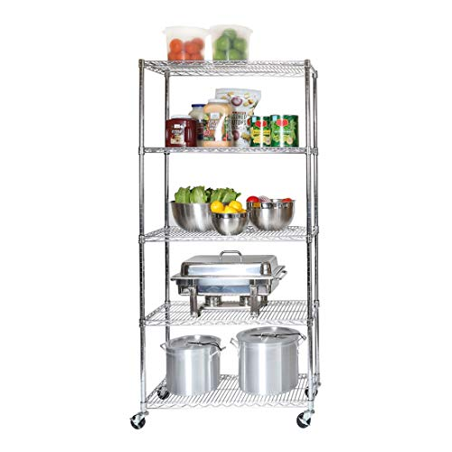 "Seville Classics UltraDurable Commercial-Grade 5-Tier NSF-Certified Steel Wire Shelving with Wheels, 36"" W x 18"" D, Chrome"