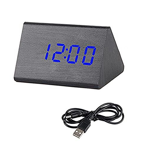 Reloj Despertador de Madera Digital Led,Control de Sonido de Mesa Relojes Electrónicos Escritorio Alimentado por USB/AAA Decoración de Mesa para El Hogar Relojes...