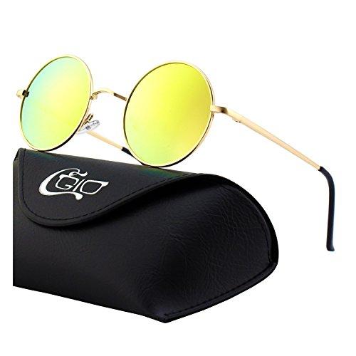 CGID Kleine Retro Vintage Sonnenbrille, inspiriert von John Lennon, polarisiert mit rundem Metallrahmen, für Frauen und Männer Verspiegelt Gold Orange E01