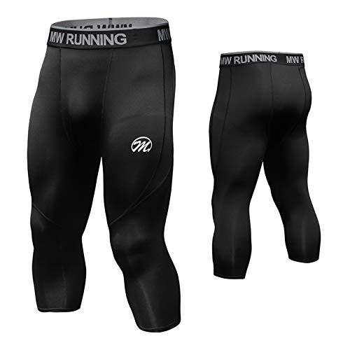 MEETWEE Pantalon de Compression Homme, 3/4 Fitness Legging Sport Collant Séchage Rapide Baselayer Tight pour Gym Jogging Cyclisme - 3/4-Noir - XL