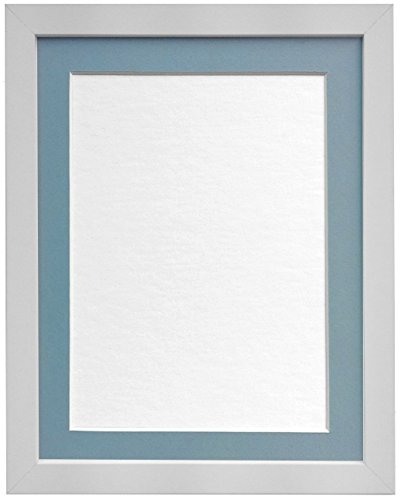 FRAMES BY POST 25mm wide H7 White Picture Photo Frame with Light Blue Grey Mount 24'x18' for Pic Size 18'x12' (Styrene) Plastic Glass