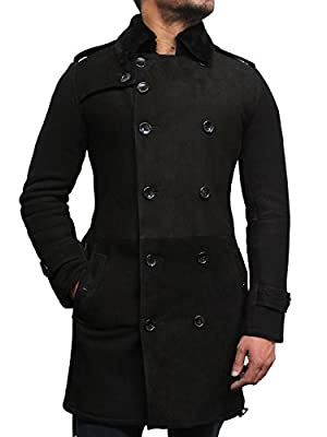 Brandslock Mens Luxury Spanish Merino Fur Sheepskin Belted Pea Coat Long Duffle Coat Ideal for Winter (L, Black)