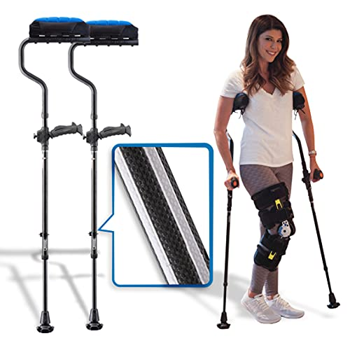 Ergobaum Dual Black Cobra(5' to 6'6'') Ergonomic Underarm Crutches (1 Pair) of Double-Function Shock Absorber Underarm Crutches with Arm Support (Real Carbon Fiber)
