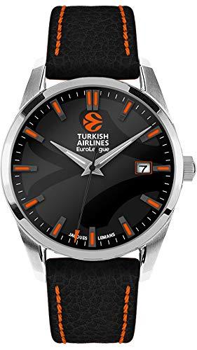JACQUES LEMANS Herren Armbanduhr massiv Edelstahl 1 Uhr, schwarz/Silber, 44