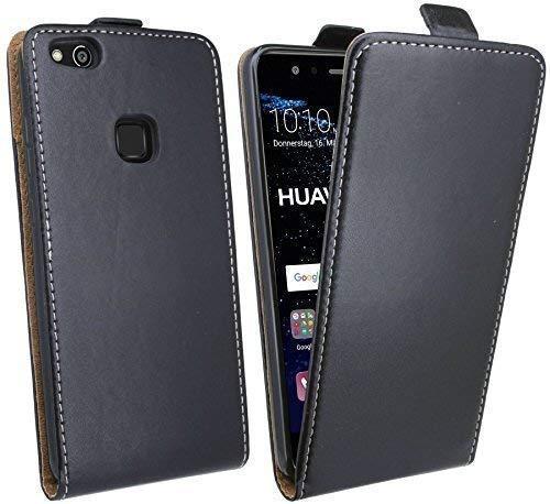 ENERGMiX Handytasche Flip Style kompatibel mit Huawei P10 LITE in Schwarz Klapptasche Hülle