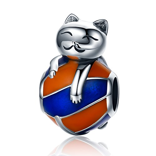 CHENGMEN Naughty Kitten Charms 925 Sterling Silver Playing Ball Cat Birthday Gifts for Men Boy's fit Bracelet