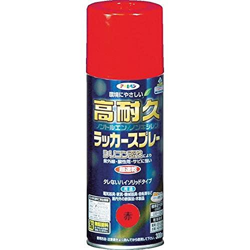 アサヒペン 高耐久ラッカースプレー 300ML 赤