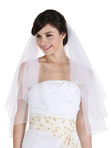 SAMKY 2T 2 Tier Crystal Beaded Edge Bridal Wedding Veil - Ivory Fingertip Length 36