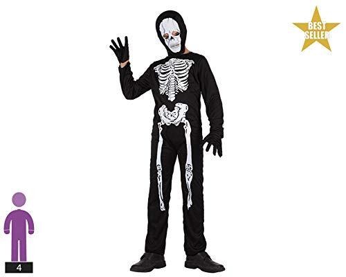 Atosa-70322 Déguisement Squelette 7-9, 70322, Noir, 7 A 9 Anos