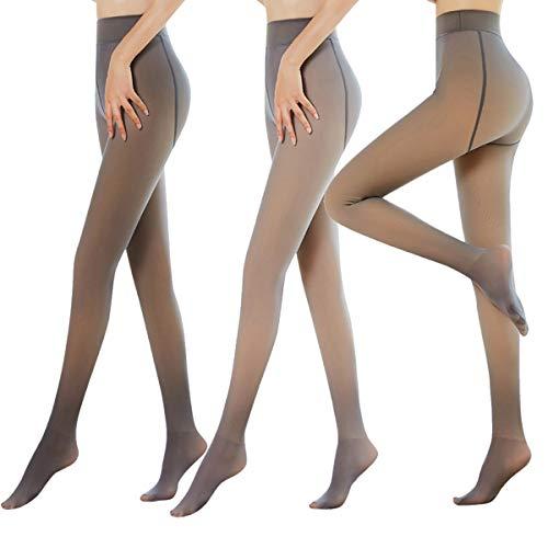 TZJ 2 Paia di Leggings Invernali Termici, Finto Pile Caldo Traslucido Gambe Impeccabili Collant Donna Caldo Pile Foderato Slim Elastico Collant Pant (Brown+Black,220g)