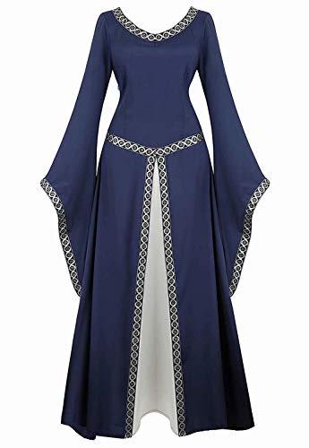 Vestido Medieval Renacimiento Mujer Vintage Victoriano gotico Manga Larga de Llamarada Disfraz Princesa Azul m