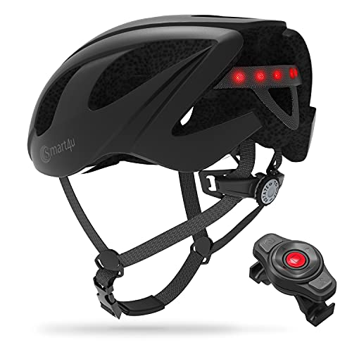 Smart4U SH55M Adult Bike Helmet with LED Rear Light, Smart Bicycle Helmet with Turn Signal Function, Linked to The Phone Bluetooth Cycling Helmet, Suitable for Men and Women in Mountain Riding Use