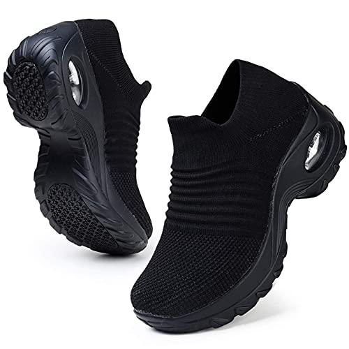 HKR Tennis Shoes for Women Slip On Nursing Shoes Air Cushion Wedge Platform...