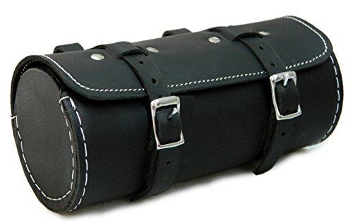 Herte Herren Tasche aus echtem Leder Fahrrad Satteltasche rund Utility Tool Bag Schwarz, Schwarz - schwarz - Größe: