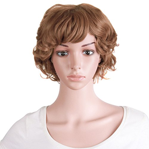 MapofBeauty 10 Inch/25cm Elderly Comparative Curly Short Curly Fashion Wig (Light Brown)