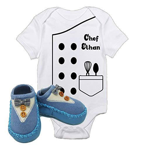 Chef Ethan Outfit Future Halloween Onsies with Blue Shoes Best Baby Gift Idea (3-6 Months with Shoes)