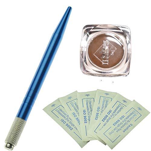 Kit permanent de microblading de sourcil de stylo de couleur bleue professionnelle avec 10 aiguilles de Microblading de PC et un pigment de microblading de bouteille (Café moyen)