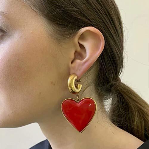 YZX Señoras Personalidad Retro exagerada en Forma de corazón 925 Pendientes de Aguja de Plata joyería(Rojo)