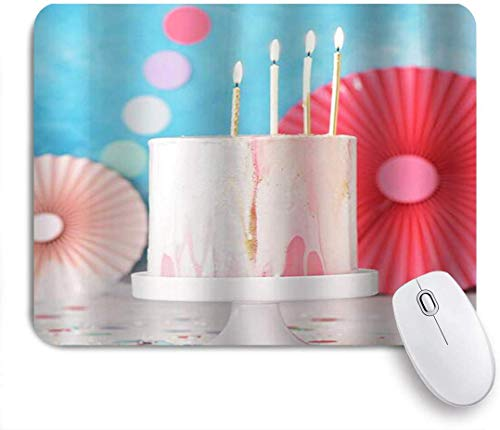 Mouse Mat Mouse Pad Cake with Candles On The Top Cute Colorful Customized Art Mousepad Non-Slip Rubber Base for Computers Laptop Office Desk Accessories
