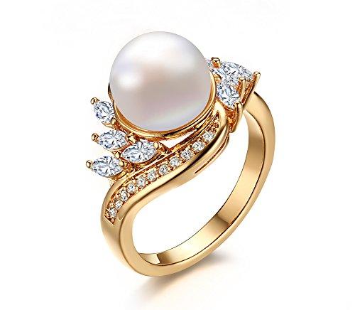 VNOX 18K Gold überzogenes kubisches Zirconia Imitate Süßwasser japanischer Akoya kultivierter Perlen Ring für Frauen