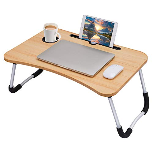 Laptop Desk, Laptop Bed Table, Breakfast Tray, Portable Foldable Laptop Desk, Laptop Table for Bed and Sofa, Notebook Stand Reading Holder for Couch (Walnut)
