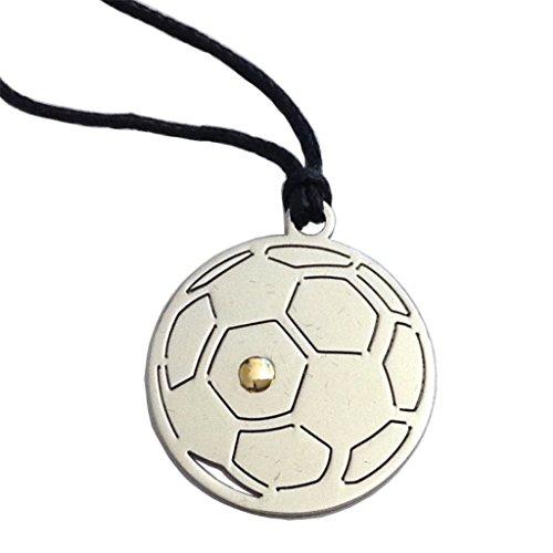GOGO Ciondolo Pallone da Football in Acciaio con Punto in Oro e Laccio in Corda