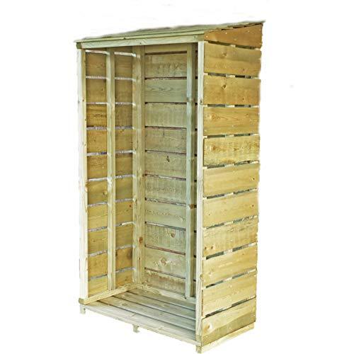 Shire Tall Wall Log Store Sawn PT Garden Storage, Brown