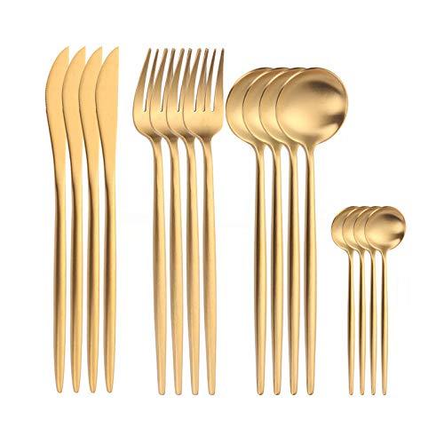 GrandGift Vajilla De Acero Inoxidable Set De Cubertería Occidental Set 16Pcs Gold Vajilla Set Cena Completa Cuchara Tenedor Cuchillo Flatware Cocina