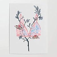 キャンバスプリントモダンピンク下着花葉ポスター家の装飾画壁アート写真リビングルーム50x70cm(19.7x27.6インチ)フレームなし
