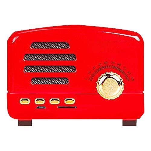 GGZZLL Altavoz Retro Bluetooth, Altavoz De Bluetooth Portátil, Vida Útil De La Batería, Diseño Retro, Consumo De Bajo Consumo, Transmisión Rápida, Adecuado para El Hogar/Dormitorio (Rojo)