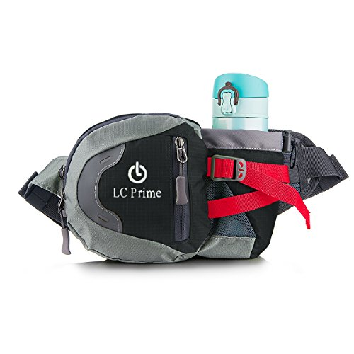 Sac Bum Taille Tasche,Portable Design de la Bouteille D'eau Sur la Poche Avant, pour Voyage Activités Extérieures nylon fabric noir/gris/rouge, by LC Prime