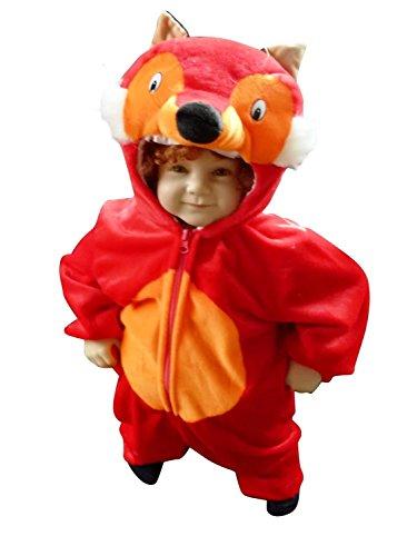 F21 Taglia 2-3A (92-98cm) Costume da Volpe per bambini e neonati, indossabile comodamente sui vestiti normali