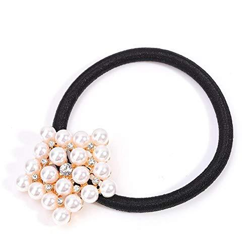 Bague de cheveux perle, pince à cheveux élastique pour dames perle, anneau de cheveux, bijoux de cheveux à la mode, fausse perle porte-queue de cheval élastique, accessoires pour cheveux(4#)