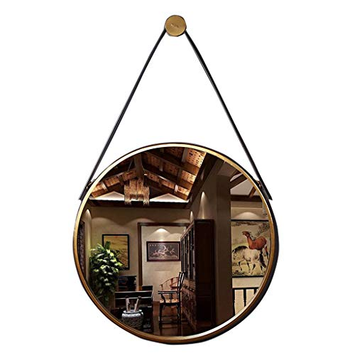 Miroirs de Salle de Bains en métal avec Bracelet en Similicuir Miroirs de Salle de Bain muraux Miroir de Maquillage Mural en Fer Rond, Or, diamètre 50 cm Décoration Miroirs