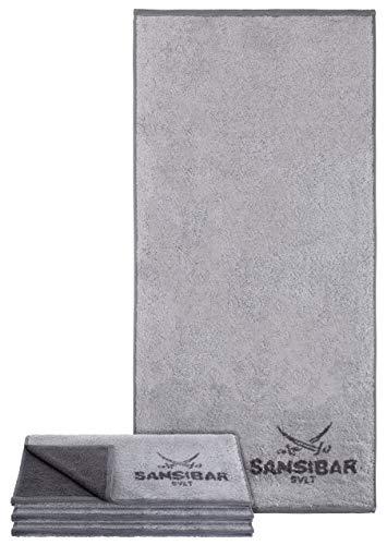 Sansibar Handtuch 4er Set 50x100 cm 100% Baumwolle Doubleface Frottiertuch Zweifarbig Silber/Anthrazit