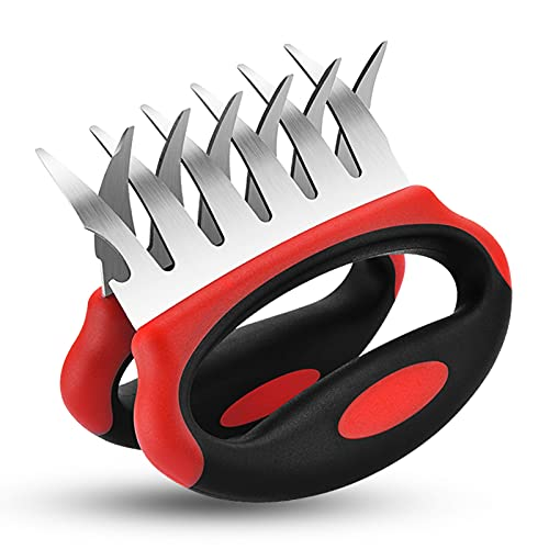 cfmour Meat Claws, Stainless Steel Pulled Pork Shredder Claw for BBQ Shredding Handling Carving+Bottle Cap Puller on Side, Comfort Grip Metal Barbecue Smoker Cooking Gadgets Gifts for Dad or Mom