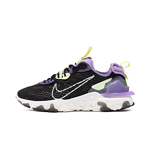 Nike W NSW React Vision, Zapatillas para Correr para Mujer, Black/Sail/Dk Smoke Grey/Gravity Purple, 40 EU