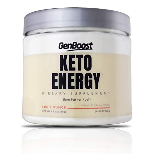 GenBoost - Keto Energy - 30 Day Energizing Drink (30 Servings) - Powder Drink Mix to Reach Ketosis, Reduce Stress & Boost Energy - Exogenous Ketones & BHB Salts for Any Ketogenic Diet - Fruit Punch