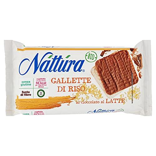 Nàttùra Gallette Quadre Biologiche di Riso e Cioccolato al Latte S. G. - 1 Confezione da 90 gr,...