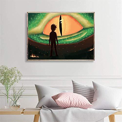 CAPTIVATE HEART Impression sur Toile 60x80 cm sans Cadre Train Dragon Dans le Monde caché Affiches Imprime Image décorative Chambre d'enfants décoration de la Maison oeuvre