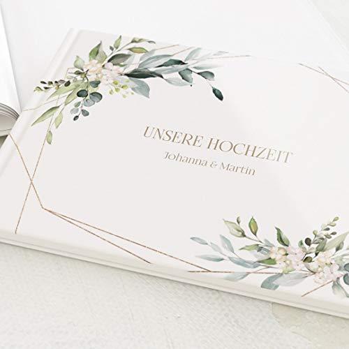 sendmoments Fotobuch für Hochzeit, Hochzeitsbuch, Fotoalbum mit Wunschtext, Greenery & Gold, Leere weiße Innenseiten zum Fotos einkleben, Hardcover-Buch, Querformat, 32 Seiten oder mehr - Botanik