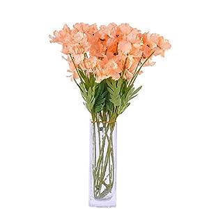 "cn-Knight Artificial Azalea Flower 10pcs 23"" Long Stem Faux Rhododendron with 4 Blossoms for Home Decor Centerpiece Housewarming Wedding DIY Bridal Bouquet(Champagne)"