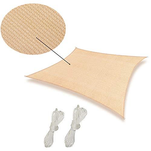 Soclear - 12 Ft. X 12 Ft. (3.5m x3.5m) Sable - Voile d'ombrage Carré - Perméable à l'eau - Durable - Protection Solaire et Anti UV
