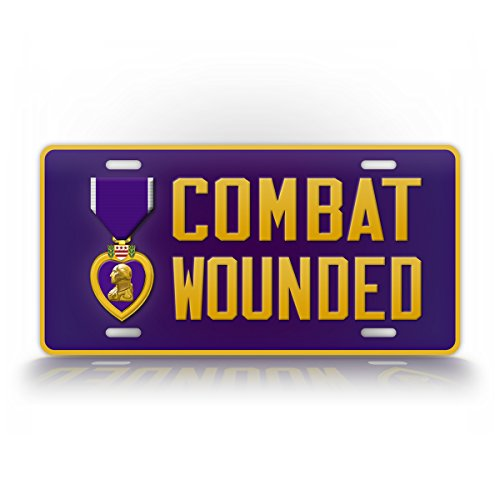 SignsAndTagsOnline Purple Heart Medal License Plate Combat Wounded Auto Tag Veteran Patriotic Military Car Sign
