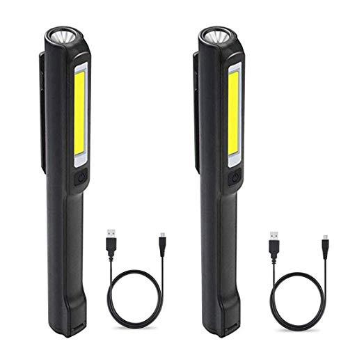 Luz de trabajo con luz LED recargable, luz de inspección con linterna de mazorca, 2 en 1, clip magnético giratorio y cable de datos USB para inspección y trabajo de vehículos domésticos, negro, 3,00