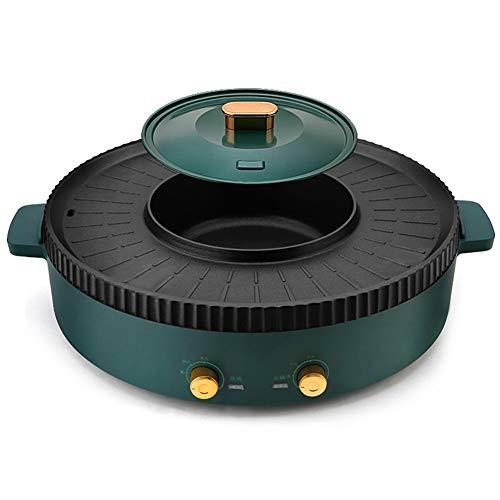 XJIANQI Barbecue Elettrico Hot Pot Multifunzione BBQ Hot Pot Fonduta Un Pezzo Shabu Pot, Separato Controllo della temperatura, Antiaderente Grill Teglia A