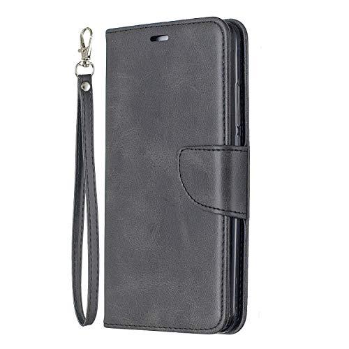 Lomogo Huawei Y7 / Y7 Prime Hülle Leder, Schutzhülle Brieftasche mit Kartenfach Klappbar Magnetverschluss Stoßfest Kratzfest Handyhülle Case für Huawei Y7 / Y7 Prime - LOBFE150409 Schwarz