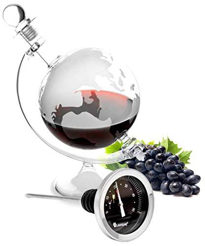 Lantelme Cognac glazen karaf wijn thermometer roestvrij staal set likeur wijnbrand whisky karaf wijntemperatuur analoog 6413