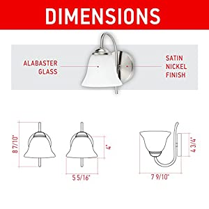 IN HOME 1-Light VANITY/BATHROOM FIXTURE VF41, Satin Nickel Finish with Alabaster Glass Shade, UL listed