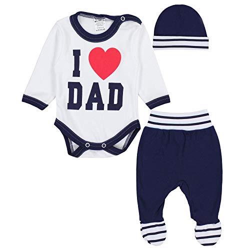 TupTam Baby Kleidung Set Body Strampelhose Mütze Teddybär, Farbe: I Love Dad Dunkelblau, Größe: 68